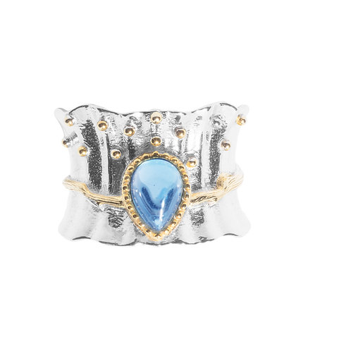 MERMAID TAIL SILVER RING WITH BLUE TOPAZ