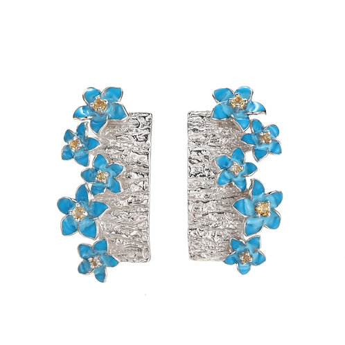 FORGET ME NOT IN ENAMEL AND CITRINE EARRINGS