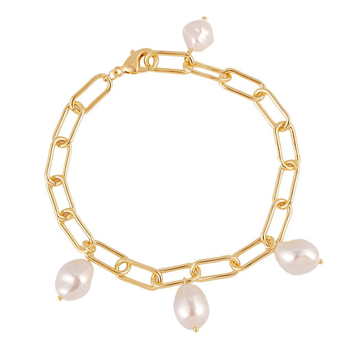 GOLD-PLATED CHAIN BRACELET WITH PEARLS