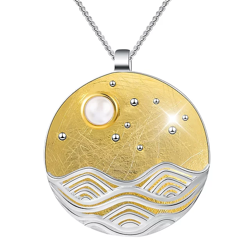 SILVER MOUNTAINS & GOLD PLATED SKY SCENERY WITH MOONSTONE PENDANT