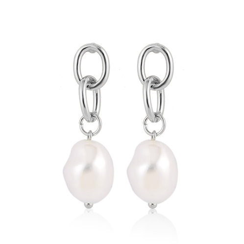 SILVER-PLATED CHAIN EARRINGS WITH PEARL DROP