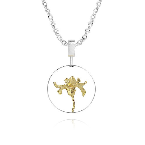 IRIS FLOWER NECKLACE IN STERLING SILVER