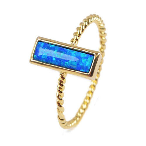 GOLD-PLATED SYNTHETIC BLUE OPAL RECTANGLE RING