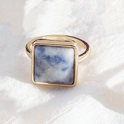 SQUARE BLUE SODALITE GOLD PLATED RING