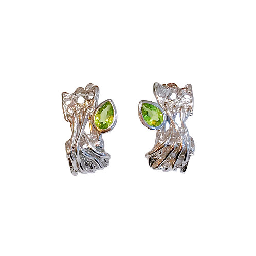 BRANCH OUT SILVER EARRINGS WITH PERIDOT