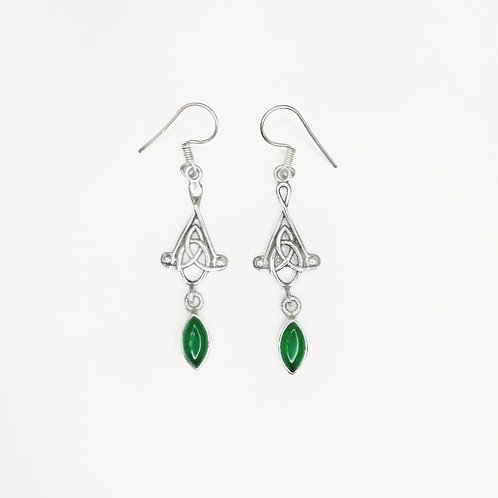 CELTIC KNOT HANGING EARRING WITH GREEN JADE