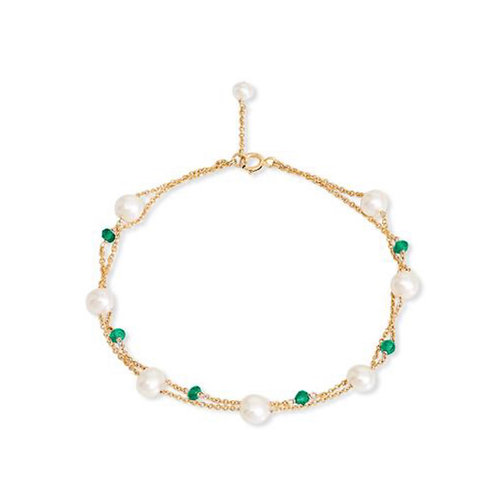 FINE BRACELET WITH FRESHWATER PEARLS &  EMERALD