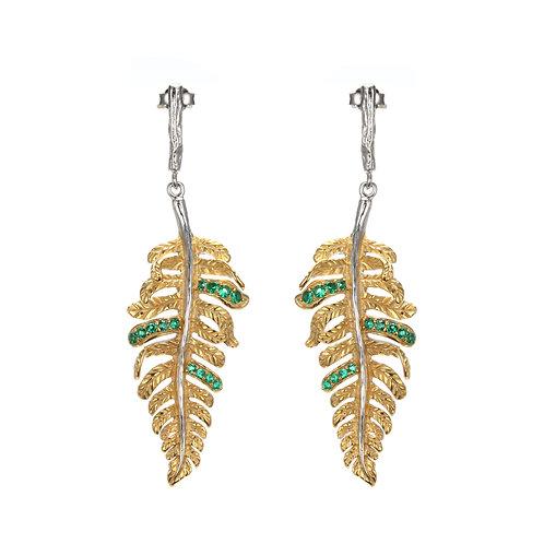 GOLD VERMEIL FERN LEAF EARRINGS WITH GREEN NANO SPINEL