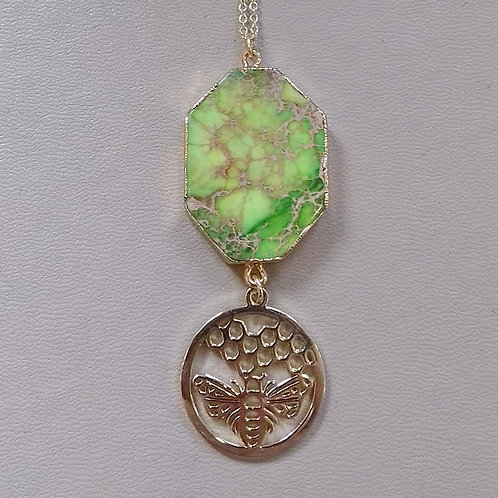 GREEN JASPER BEE NECKLACE