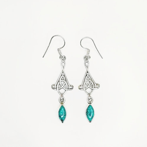 CELTIC KNOT HANGING EARRING WITH TURQUOISE