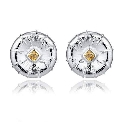 LILYPAD STUD EARRINGS WITH CITRINE IN STERLING SILVER