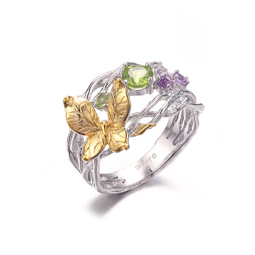 BUTTERFLY NEST SILVER RING