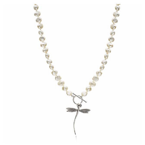 SILVER DRAGONFLY & FRESHWATER PEARL NECKLACE