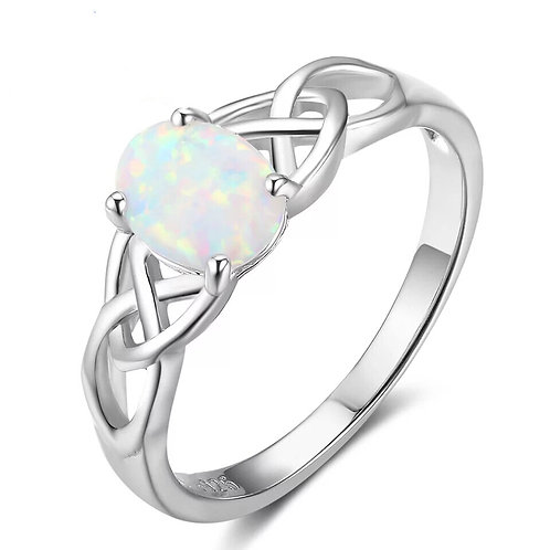FIRE OPAL & STERLING SILVER CELTIC RING
