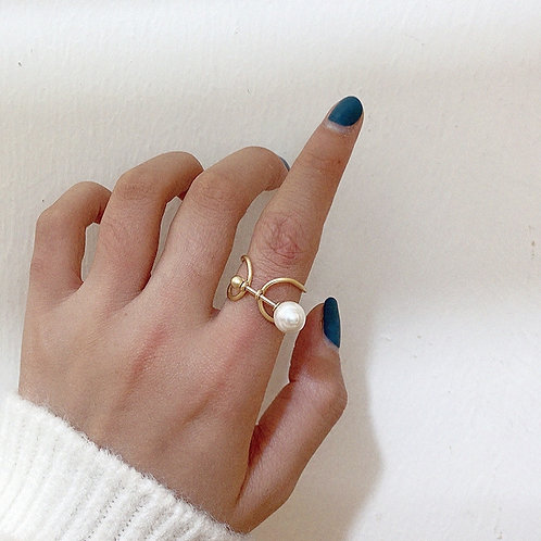 PEARL GOLD PLATED KNOT RING