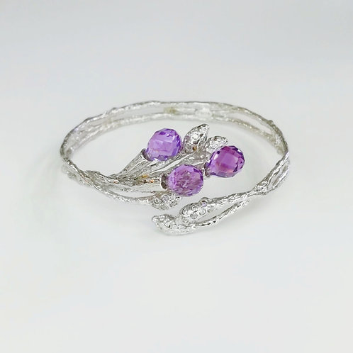 LILAC CRYSTAL BANGLE IN STERLING SILVER