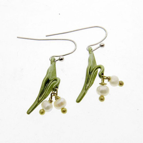 GREEN LEAF EARRINGS WITH FRESHWATER PEARLS