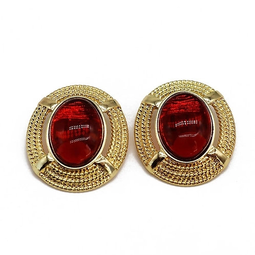 PRETTY RED GLASS CRYSTAL EARRINGS