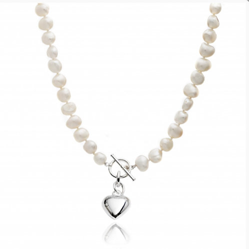 FRESHWATER PEARL NECKLACE WITH SILVER SMALL PUFFED HEART