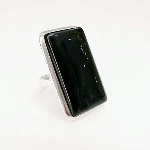 LARGE BLACK ONYX STERLING SILVER RING