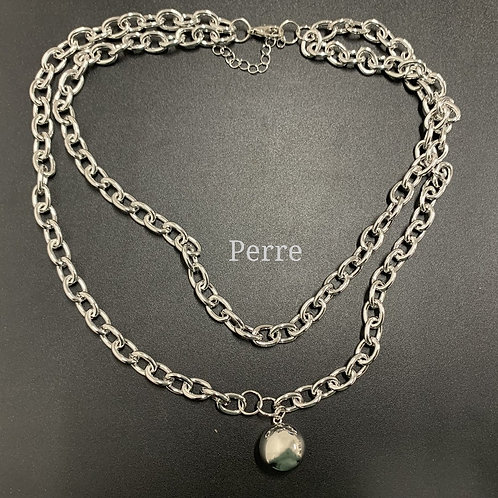 DOUBLE BALL CHAIN SILVER NECKLACE