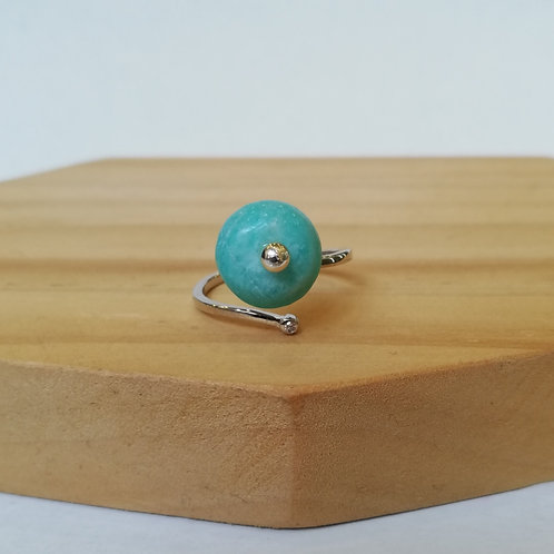 AMAZONITE CIRCLE ADJUSTABLE RING IN STERLING SILVER