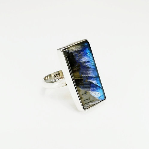 LARGE RECTANGLE LABRADORITE STERLING SILVER RING