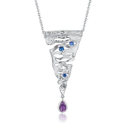 HANDMADE BRUSHED SILVER NECKLACE WITH AMETHYST AND NANO BLUE SAPPHIRE