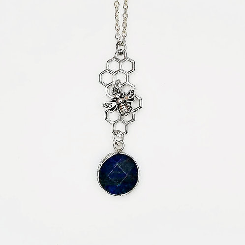 HONEYCOMB BEE NECKLACE WITH LAPIS
