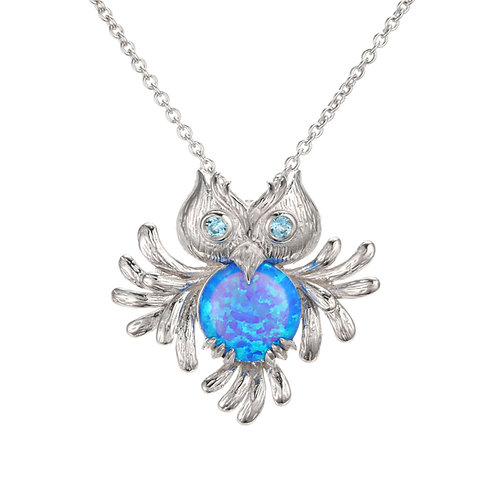 THE ALL-KNOWING OWL NECKLACE WITH SYNTHETIC OPAL AND BLUE TOPAZ
