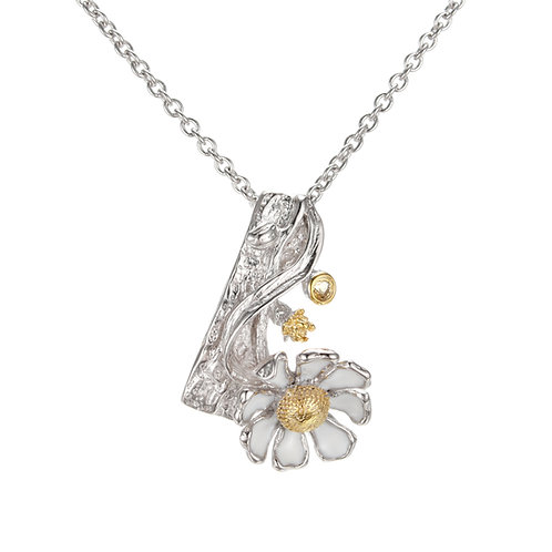 CHUNKY DAISY NECKLACE WITH CITRINE IN STERLING SILVER