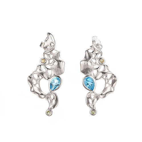 FOAMY WAVES STERLING SILVER EARRINGS WITH BLUE TOPAZ