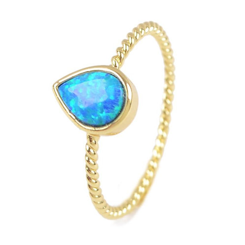 GOLD-PLATED SYNTHETIC BLUE OPAL PEAR RING