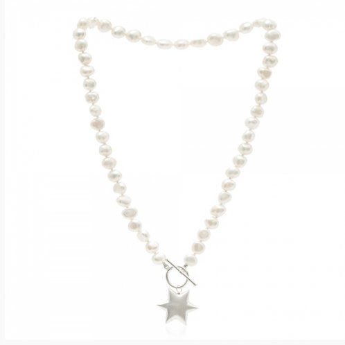 FRESHWATER POTATO PEARL NECKLACE WITH STERLING SILVER STAR