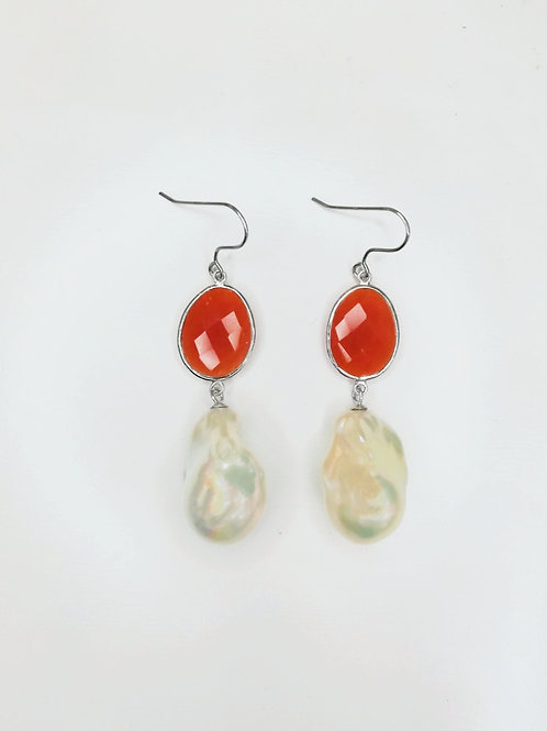 LARGE BAROQUE PEARL WITH CARNELIAN STERLING SILVER EARRINGS