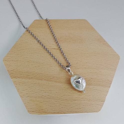 IRREGULAR FRESHWATER PEARL HEART NECKLACE IN STERLING SILVER