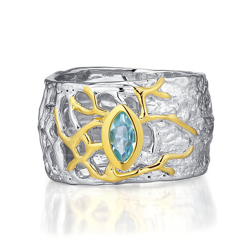 TREE OF LIFE RING WITH BLUE TOPAZ IN STERLING SILVER