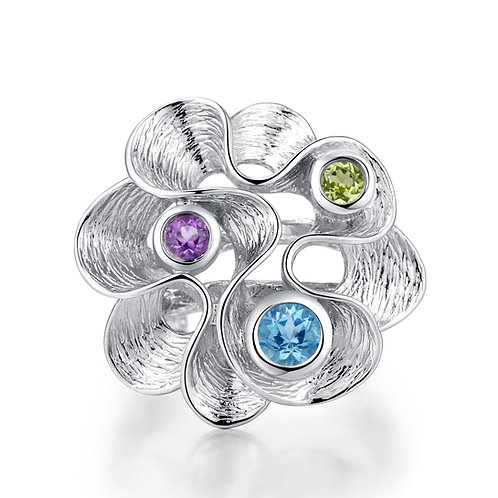 SILVER FLOWER RING WITH GEMSTONES