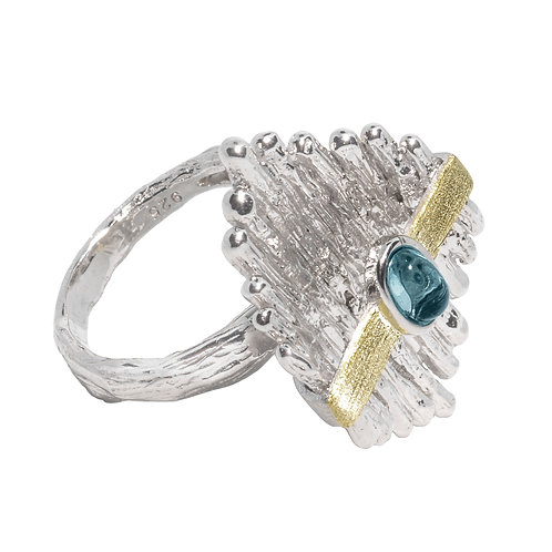 SATELLITE SILVER RING WITH BLUE TOPAZ
