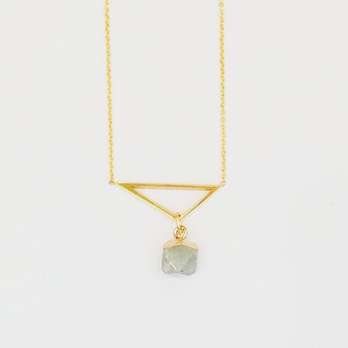 GOLD-PLATED TRIANGLE NECKLACE WITH LABRADORITE