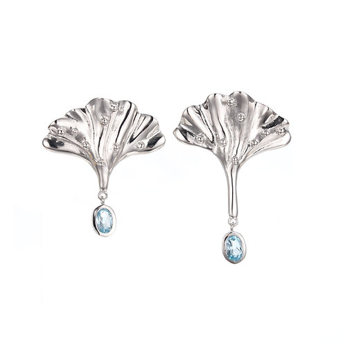 MERMAID TAIL SILVER EARRING WITH BLUE TOPAZ