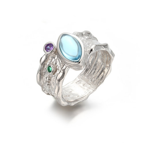 BELOVED BARK DETAIL SILVER RING WITH TOPAZ AND AMETHYST