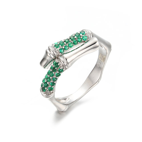 SILVER BAMBOO RING WITH NANO GREEN SPINEL