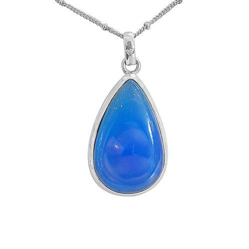 CHUNKY BLUE CHALCEDONY NECKLACE IN STERLING SILVER