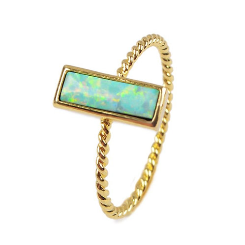 GOLD-PLATED SYNTHETIC WHITE OPAL RECTANGLE RING