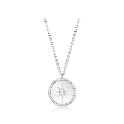 NORTH STAR IN SHELL OF PEARL AND STERLING SILVER