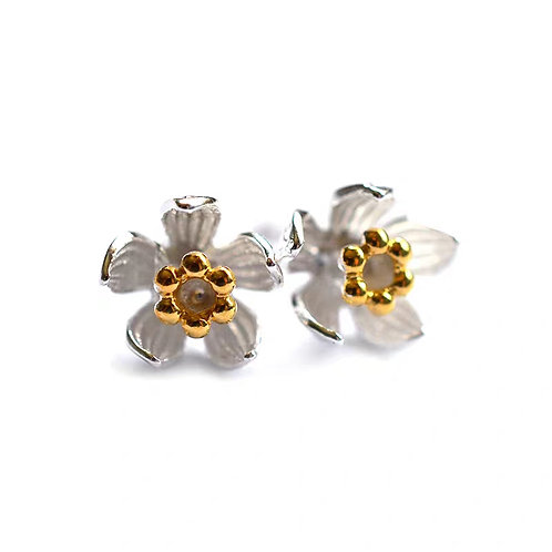 STERLING SILVER ORCHID FLOWER STUDS