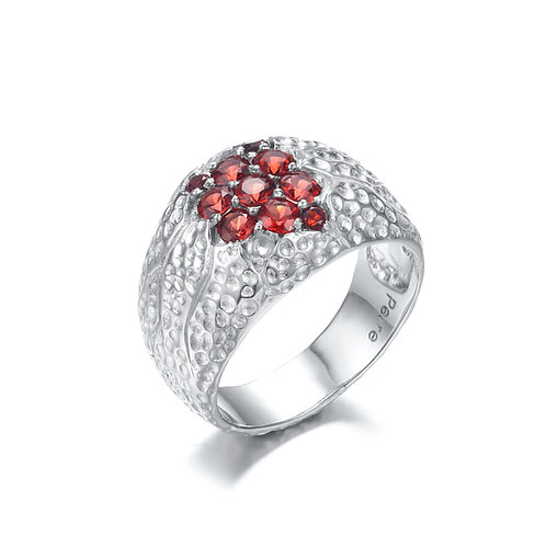 BUNCH OF BERRIES STERLING SILVER RING WITH GARNET