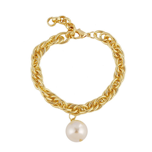 CHUNKY GOLD-PLATED BRACELET WITH PEARL