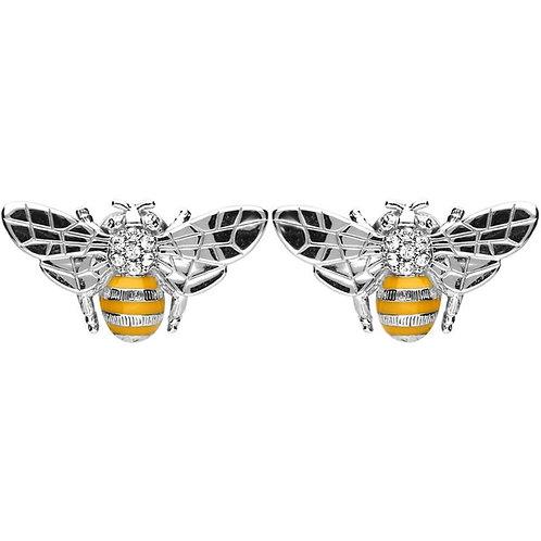 SILVER & ENAMELED BEE EARRINGS WITH SWAROVSKI CRYSTAL